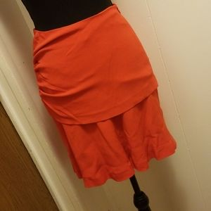 New Fire Red High Waisted Ruched Layered Skirt